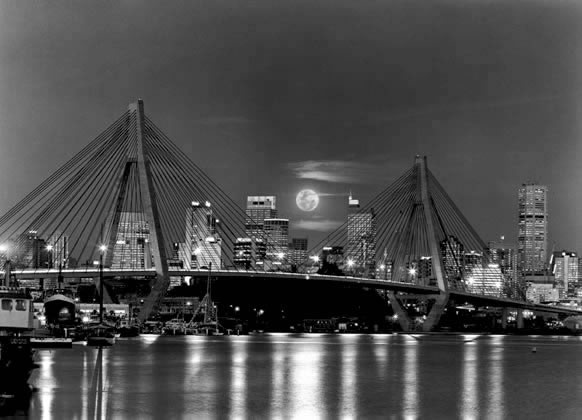 Glebe Island bridge with full moon – 1997