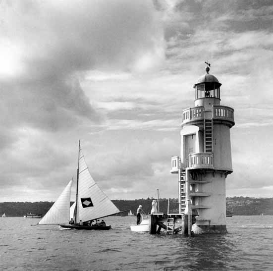18 footer and Shark Island lighthouse – c.1948