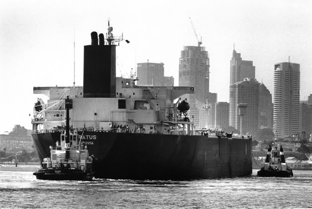 Tanker <em>Siratus</em> and western face of city from Greenwich – 1993