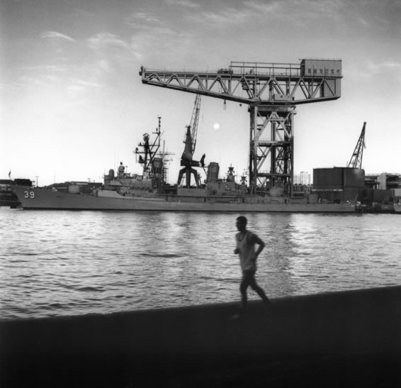 Jogger and rising full moon with Garden Island Naval Base – 1991
