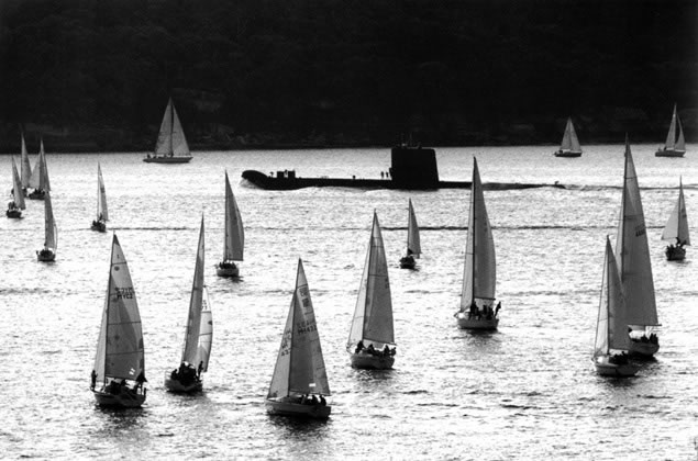 Evening yacht race and Oberon class submarine – 1991