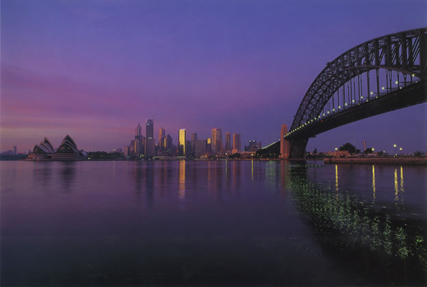Summer dawn over Sydney from Kirribilli – 1993