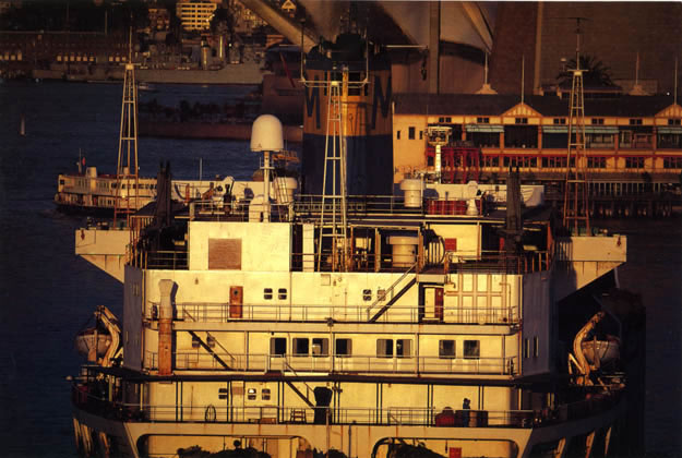 Ship at sunset west of Harbour Bridge – 1985
