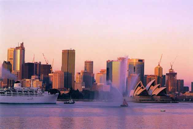 Sunrise on the harbour from Cremorne Point – 1992