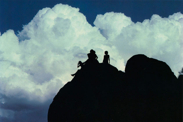 Aboriginal children and thundercloud, Ernabella, South Australia – 1977