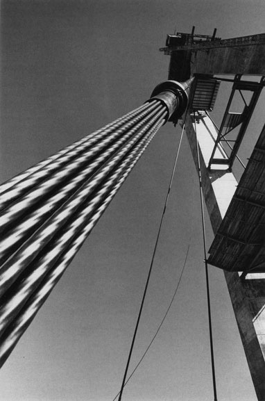 One of the first multi-strand stay cables in position – c.1993
