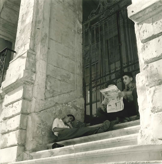 Spanish boys at rest in the afternoon, Minorca – 1954