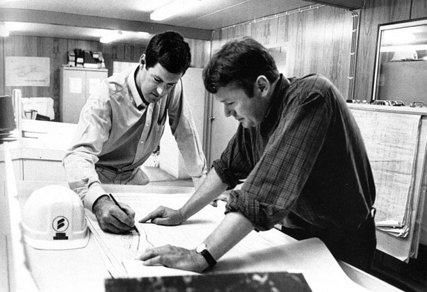 Bruce Wilson, project engineer, and Simon Lillyman, administration manager – c.1993