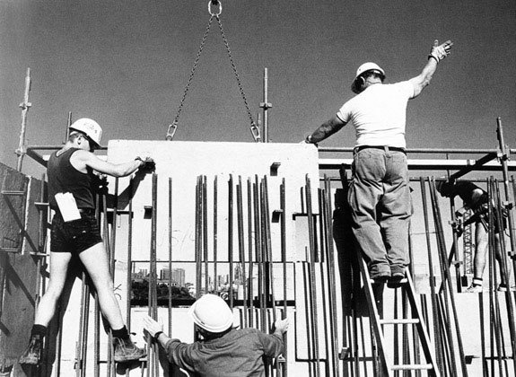 Placing precast panel in western abutment retaining wall – c.1993