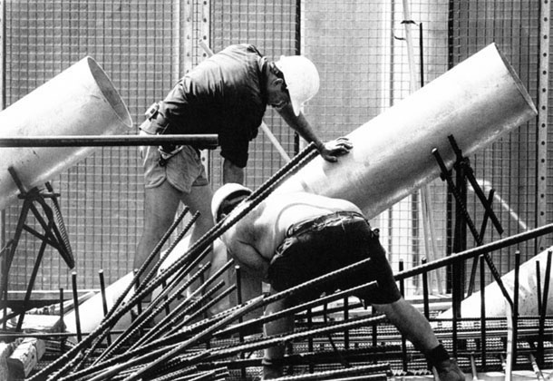 Work on western deck stay cable guide pipe – c.1993