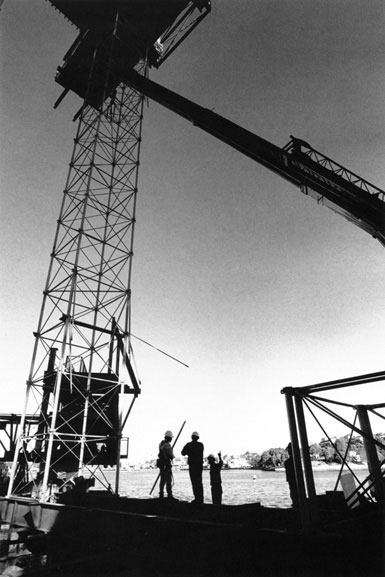 Erecting first section of Kingshore scaffolding under western tower – c.1993