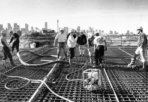 Placing concrete on western pier table – c.1993