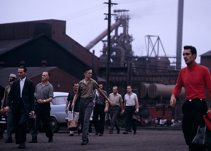 Steelworkers coming off shift at Port Kembla NSW – c.1966