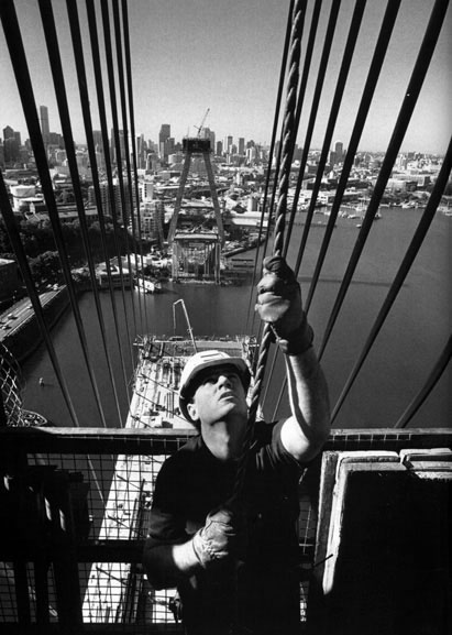 Peter Cole hoists a load to western tower head – c.1994