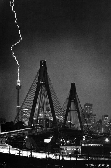 Lightning strike on Centerpoint Tower seen from Rozelle – c.1995