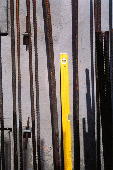Spirit level and reimforcing rods – c.1995