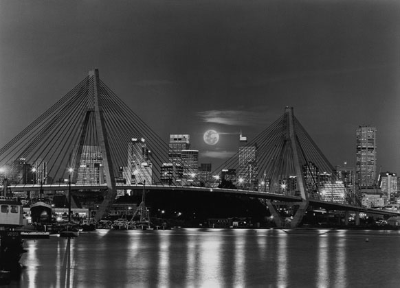 Glebe Island bridge with full moon – 1999