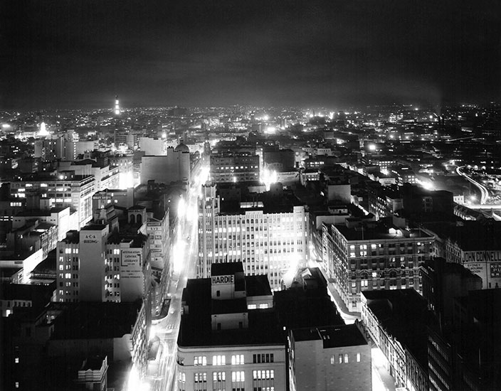City at night from QVB tower looking north – c.1965