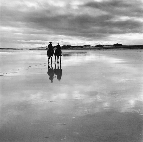Horseriders seen at low tide on the desolate north end of Cronulla – c.1949