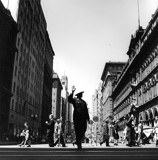 Policeman directs traffic, Martin Place – c.1950