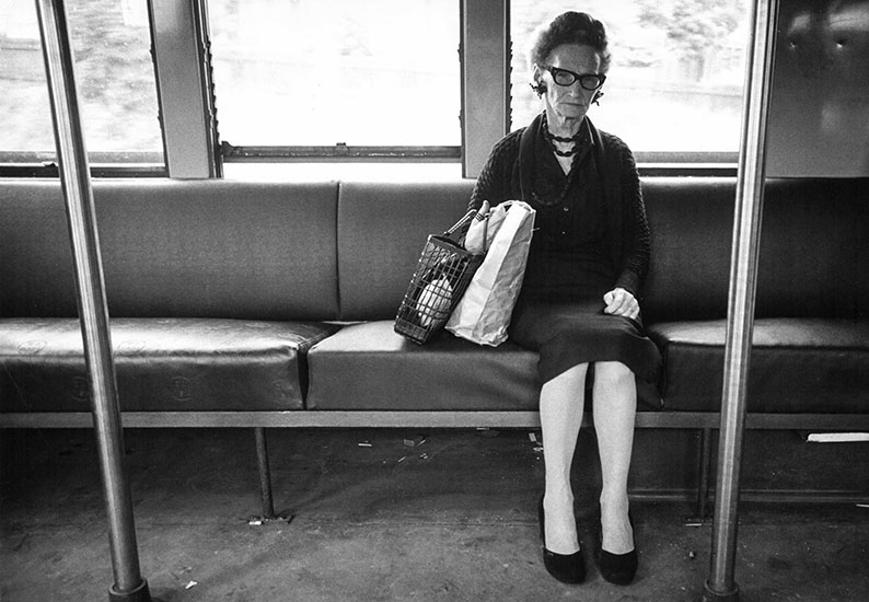 Sydney woman on electric suburban train – 1960